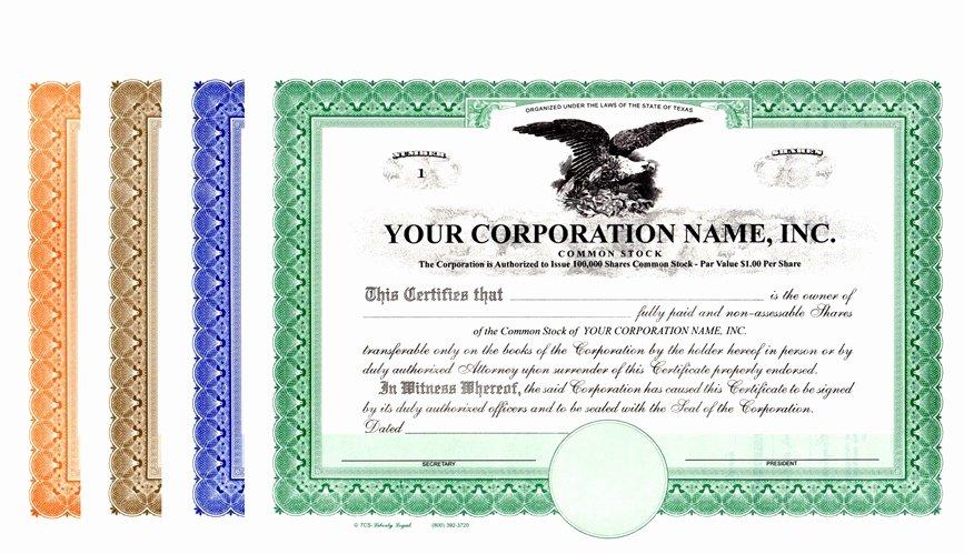 Corporate Stock Certificate Template New Corporation Stock Certificates