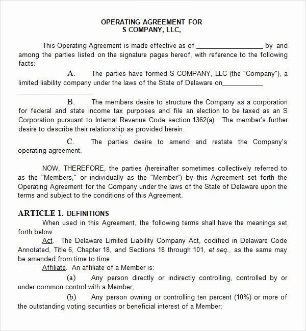 Corporation Operating Agreement Template Awesome 8 Sample Operating Agreement Templates to Download