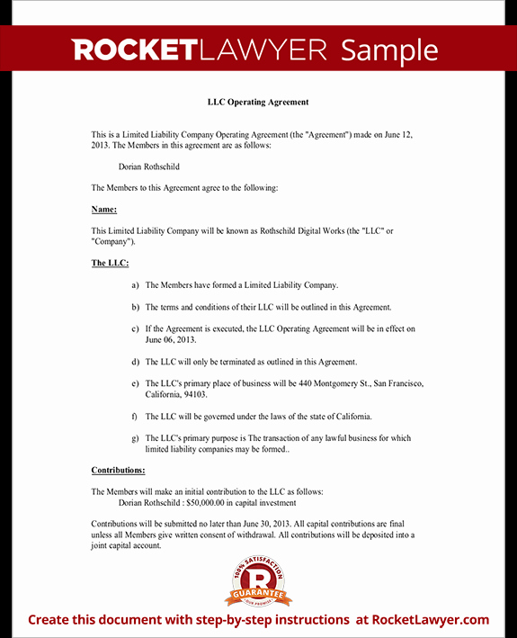 Corporation Operating Agreement Template Awesome Llc Operating Agreement