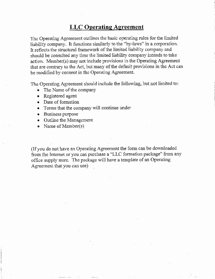 Corporation Operating Agreement Template Best Of 2018 Llc Operating Agreement Template Fillable