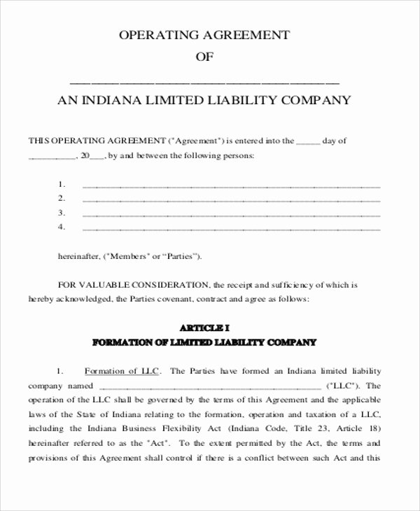Corporation Operating Agreement Template Elegant 8 Sample Business Operating Agreements