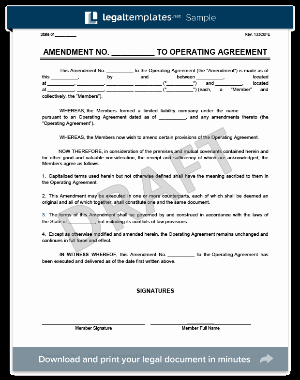 Corporation Operating Agreement Template Elegant Amendment to An Llc Operating Agreement