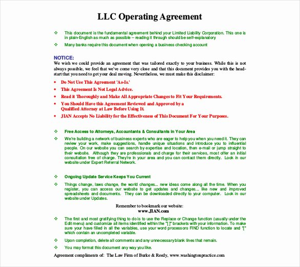 Corporation Operating Agreement Template Fresh Operating Agreement Template 10 Free Word Pdf Document