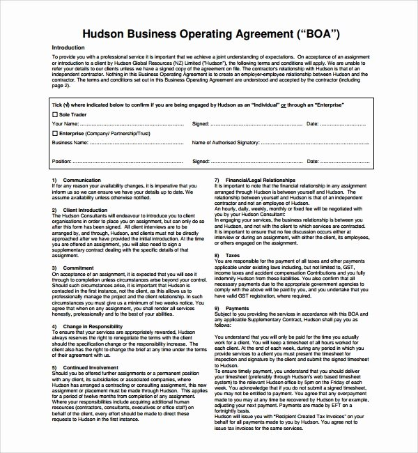Corporation Operating Agreement Template Inspirational Sample Business Operating Agreement 7 Free Documents