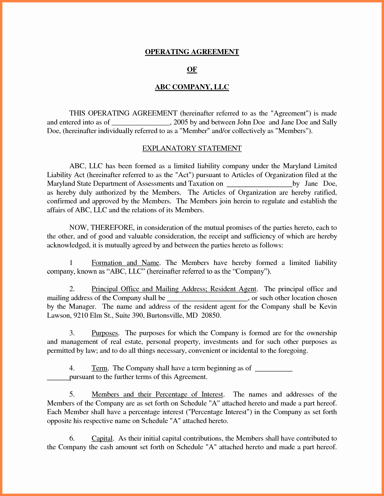 Corporation Operating Agreement Template Lovely 10 Small Business Operating Agreement Template