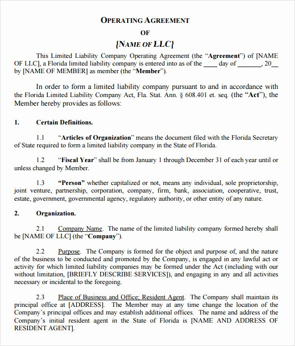 Corporation Operating Agreement Template Lovely 9 Sample Llc Operating Agreement Templates to Download