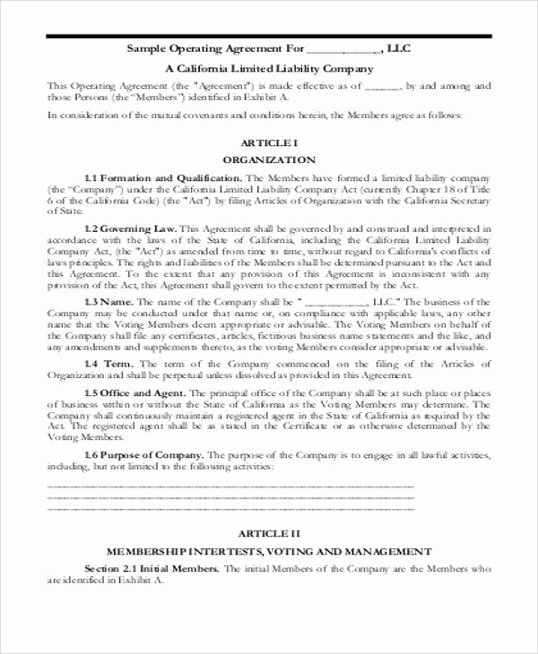 Corporation Operating Agreement Template Luxury 8 Sample Business Operating Agreements