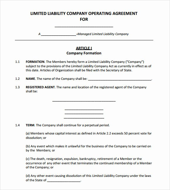 Corporation Operating Agreement Template New 10 Sample Operating Agreements – Pdf Word