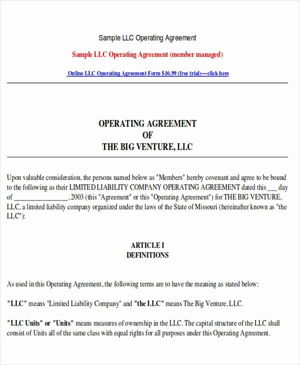 Corporation Operating Agreement Template Unique 70 Agreement Examples