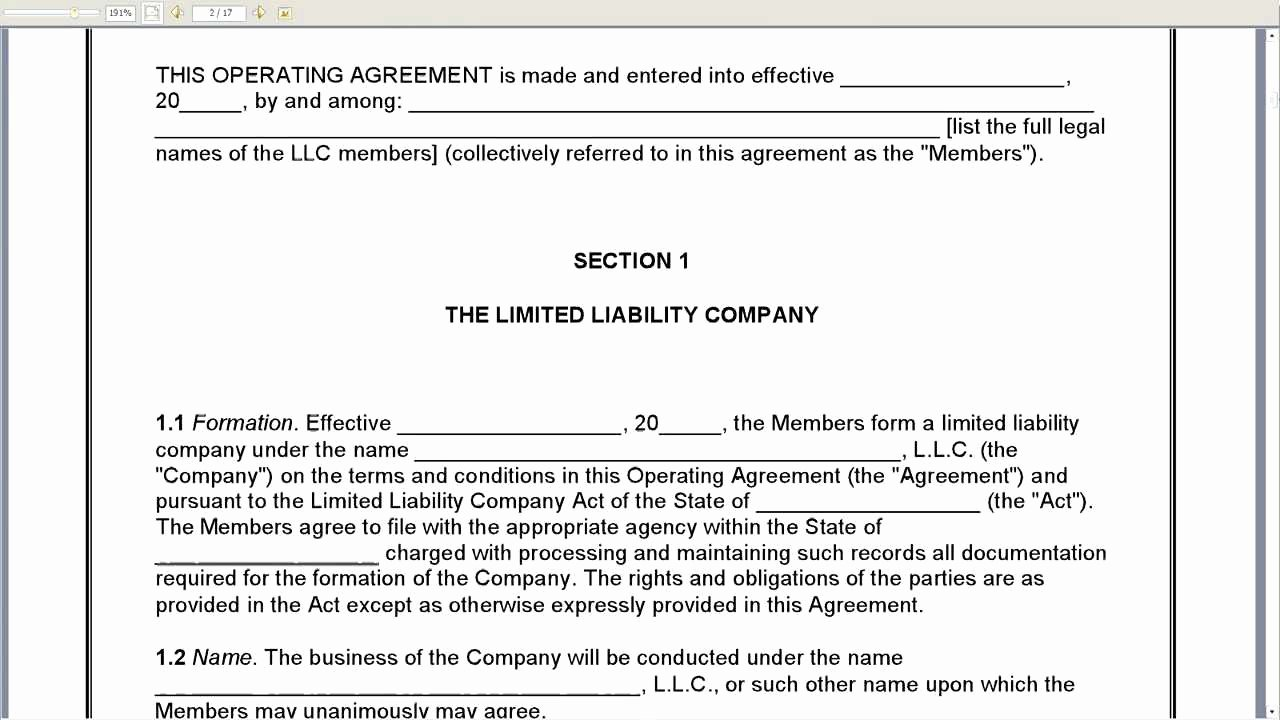 Corporation Operating Agreement Template Unique Member Managed Llc Operating Agreement