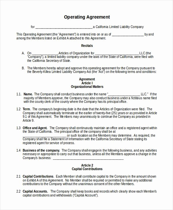 operating agreement llc california template