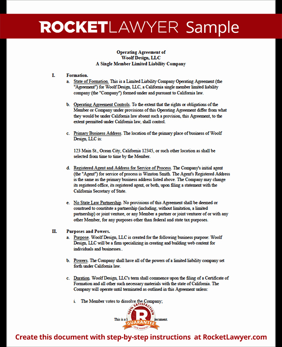 Corporation Operating Agreement Template Unique Single Member Llc Operating Agreement