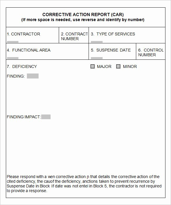 Corrective Action form Template Awesome 8 Corrective Action Report Templates – Free Word Pdf