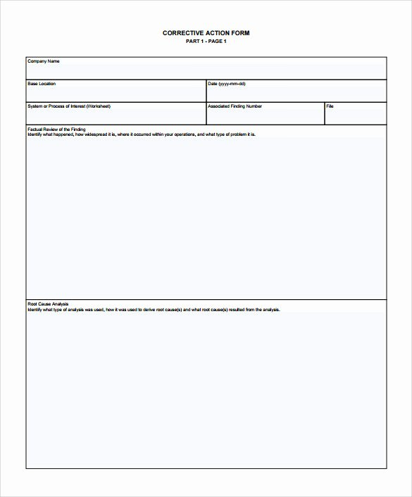 Corrective Action form Template Awesome Sample Corrective Action Plan Template 14 Documents In