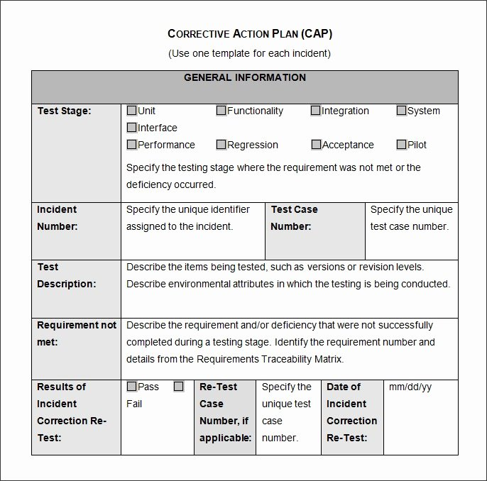Corrective Action form Template Best Of Corrective Action Plan Template