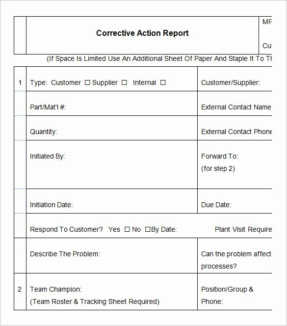 Corrective Action form Template Elegant 8 Corrective Action Report Templates – Free Word Pdf