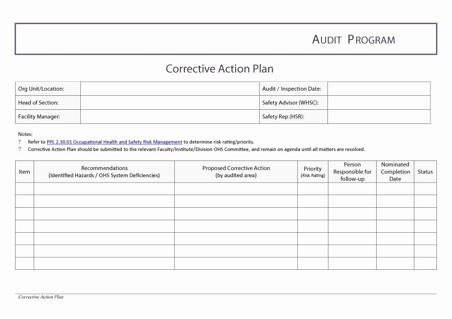 Corrective Action form Template Lovely Corrective Action Plan Template
