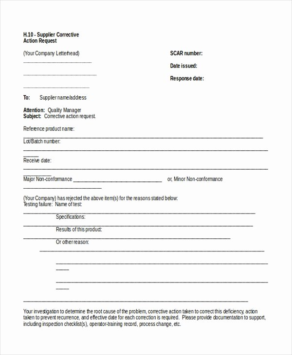 Corrective Action form Template New 11 Sample Action Request forms Free Sample Example format