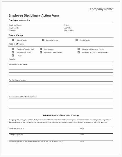 Corrective Action form Template New Employee Disciplinary Action forms for Ms Word