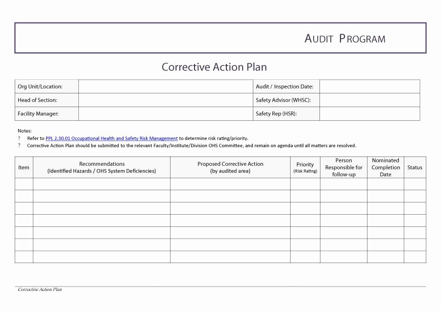 Corrective Action Plan Template Inspirational 45 Free Action Plan Templates Corrective Emergency