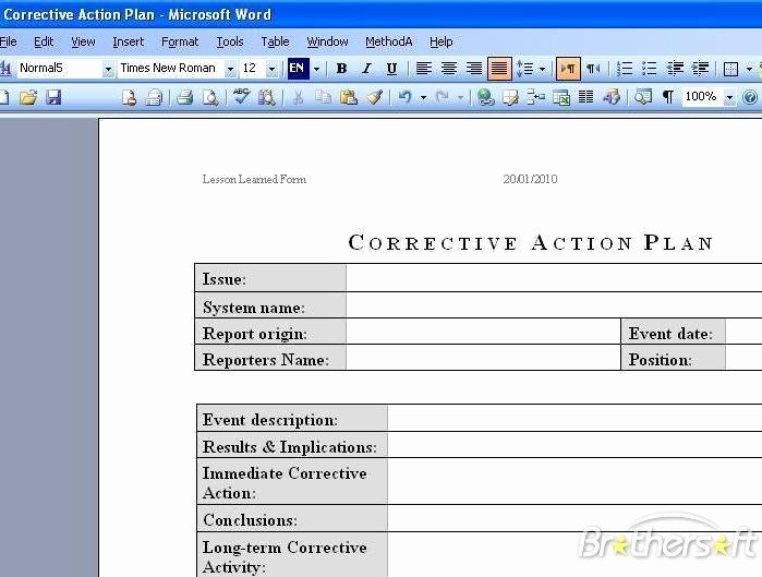 Corrective Action Plan Template Luxury Download Free Corrective Action Plan Corrective Action