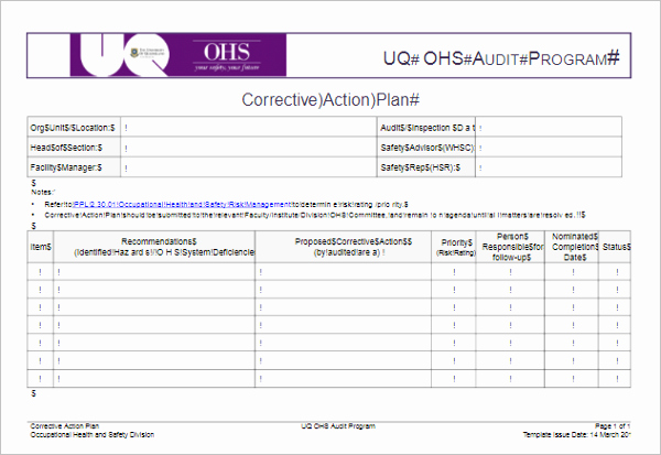 Corrective Action Plan Template Unique 31 Action Plan Templates Free Excel Word Examples Samples