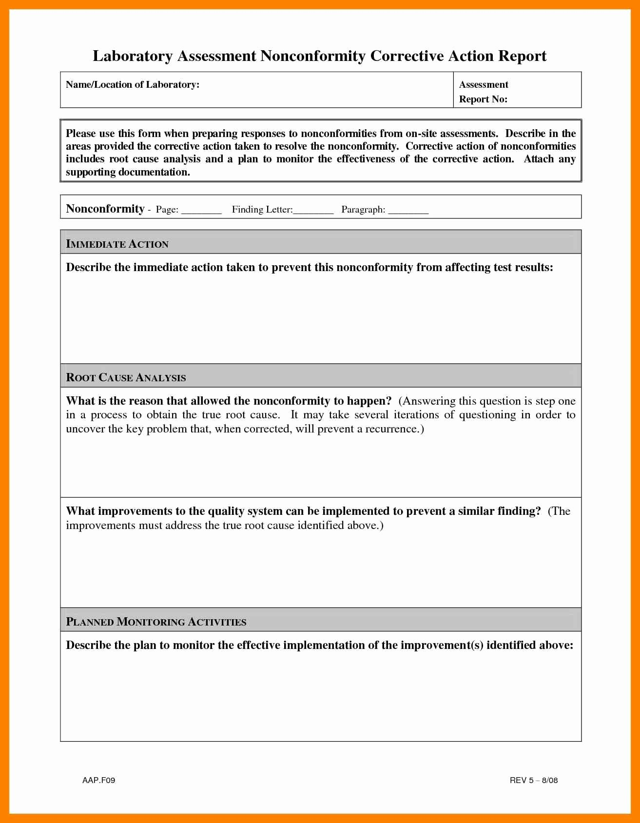 Corrective Action Report Template Awesome 14 Corrective Action Report