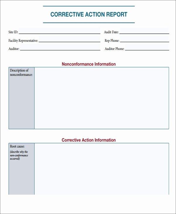 Corrective Action Report Template Awesome 7 Action Report Templates Free Sample Example format