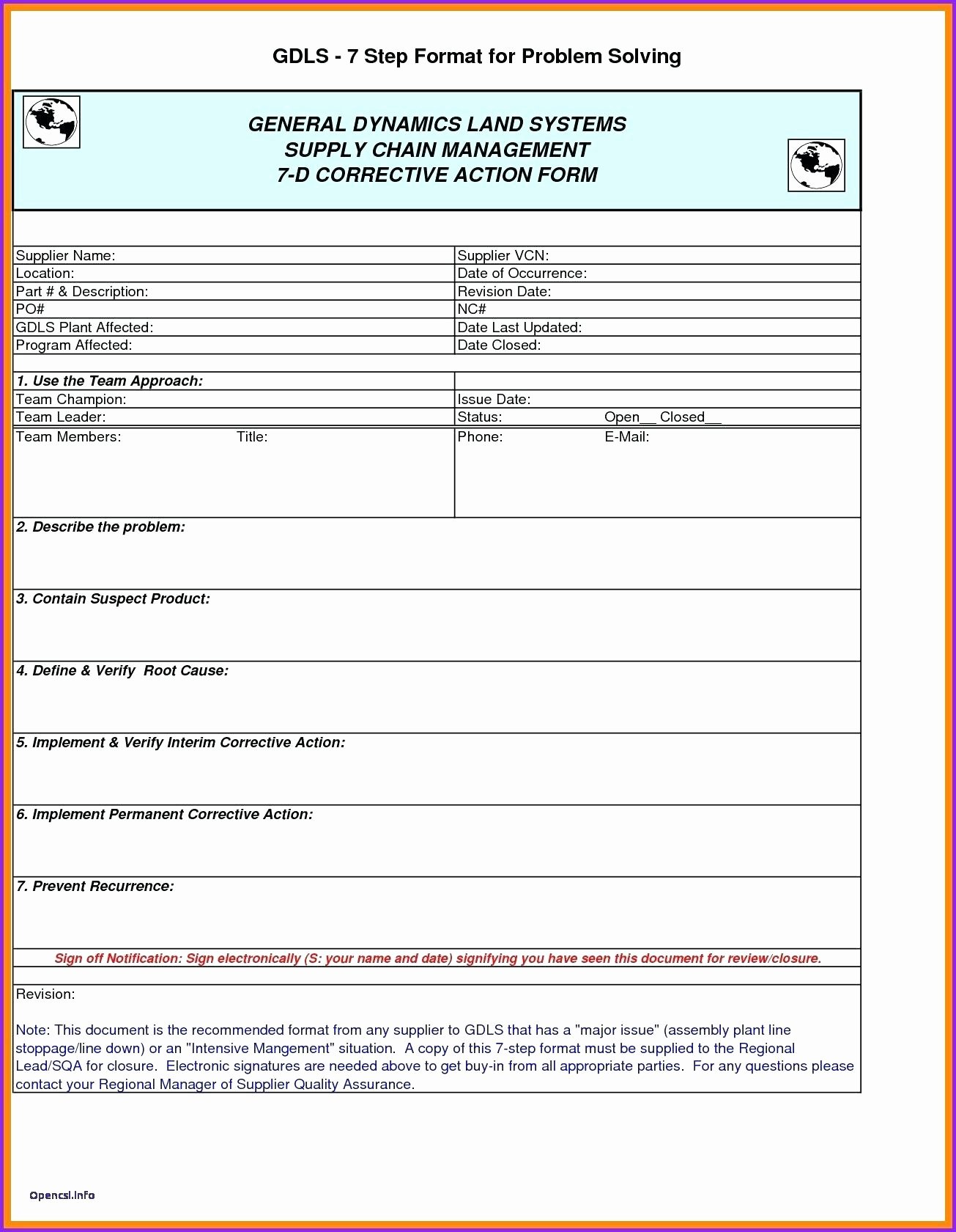 Corrective Action Report Template Fresh Corrective Action form – Campuscareer