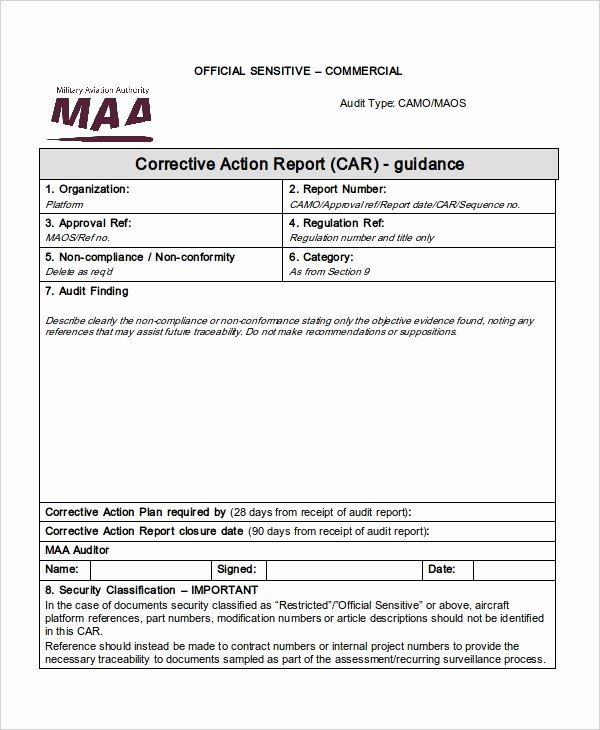 Corrective Action Report Template Unique 49 Report Templates Free Sample Example format