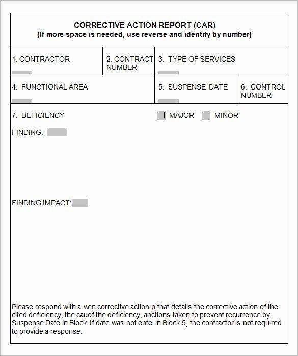 Corrective Action Report Template Unique 8 Corrective Action Report Templates – Free Word Pdf