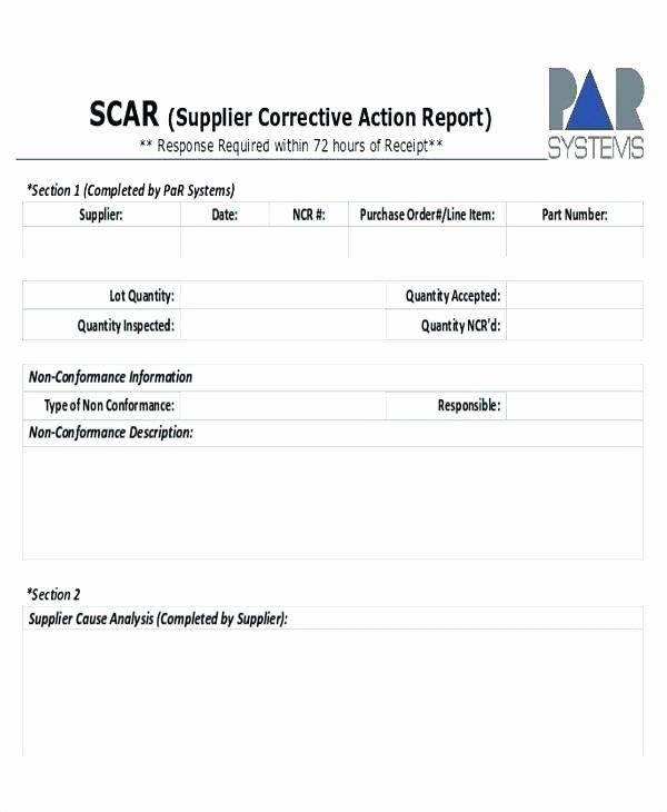 Corrective Action Report Template Unique Quality Non Conformance Report Template Management