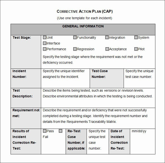 Corrective Action Template Word Lovely Corrective Action Plan Template 25 Free Word Excel Pdf
