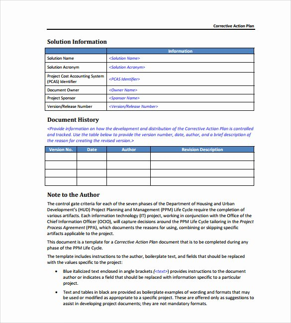 Corrective Action Template Word Lovely Sample Corrective Action Plan Template 9 Documents In