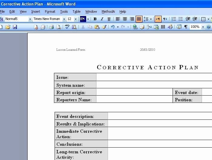 Corrective Action Template Word Luxury Free Download Deployment Plan Template Excel