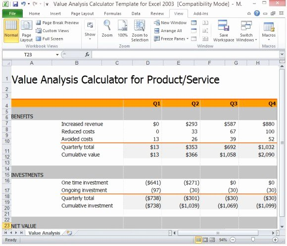 Cost Analysis Template Excel Best Of Value Analysis Calculator Template for Excel