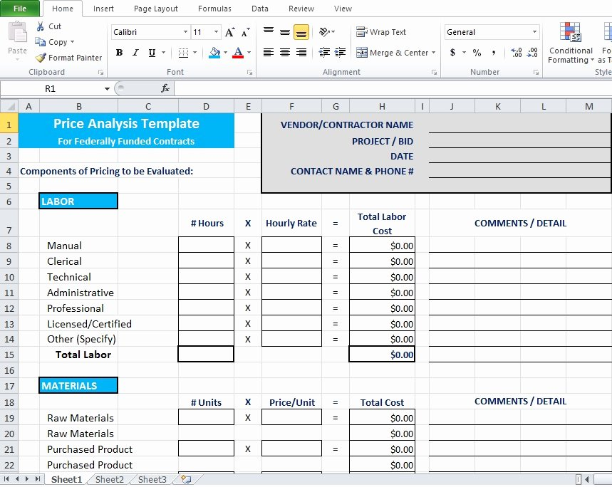 Cost Analysis Template Excel Elegant Price Analysis Spreadsheet Template Excel Tmp