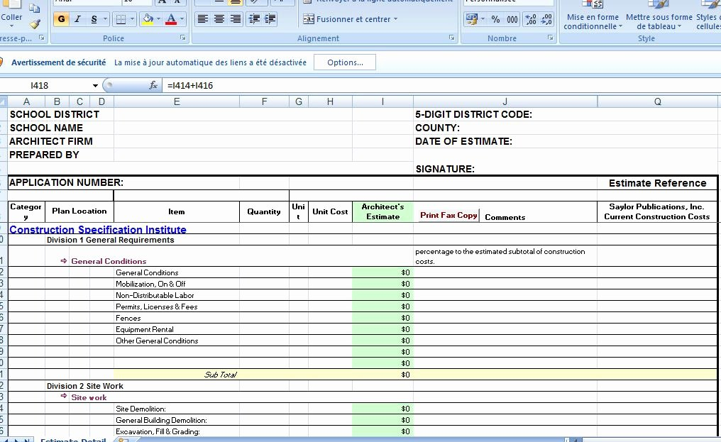 Cost Estimate Template Excel Inspirational Construction Cost Estimate Template Excel Civil