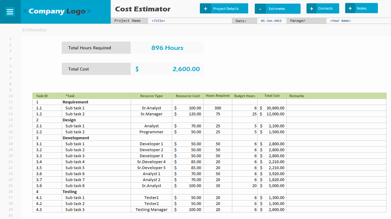 Cost Estimate Template Excel Lovely Cost Estimator Excel Project Management Templates
