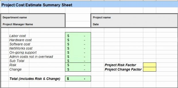 Cost Estimate Template Excel New Project Cost Estimating Template Excel Spreadsheet