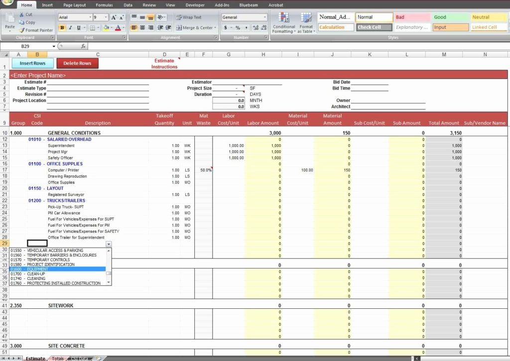 Cost Estimate Template Excel Unique Cost Estimate Spreadsheet Template Estimate Spreadsheet