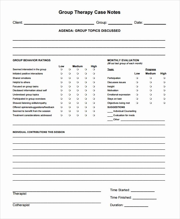 Counseling Case Notes Template Inspirational 6 therapy Notes Templates