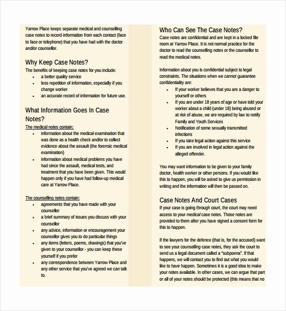 Counseling Case Notes Template New Case Notes Template – 7 Free Word Pdf Documents Download