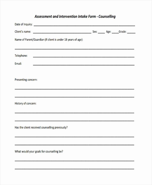 Counseling Intake form Template Beautiful Counselling assessment form Template Hdhgfo
