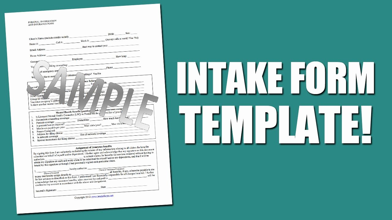 Counseling Intake form Template Fresh Best Intake form Template for Mental Health assessment