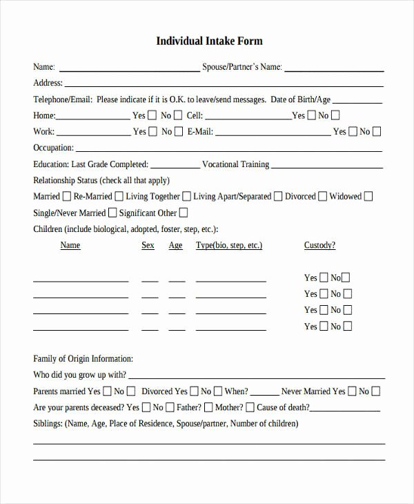 Counseling Intake form Template Luxury 38 Counseling forms In Pdf