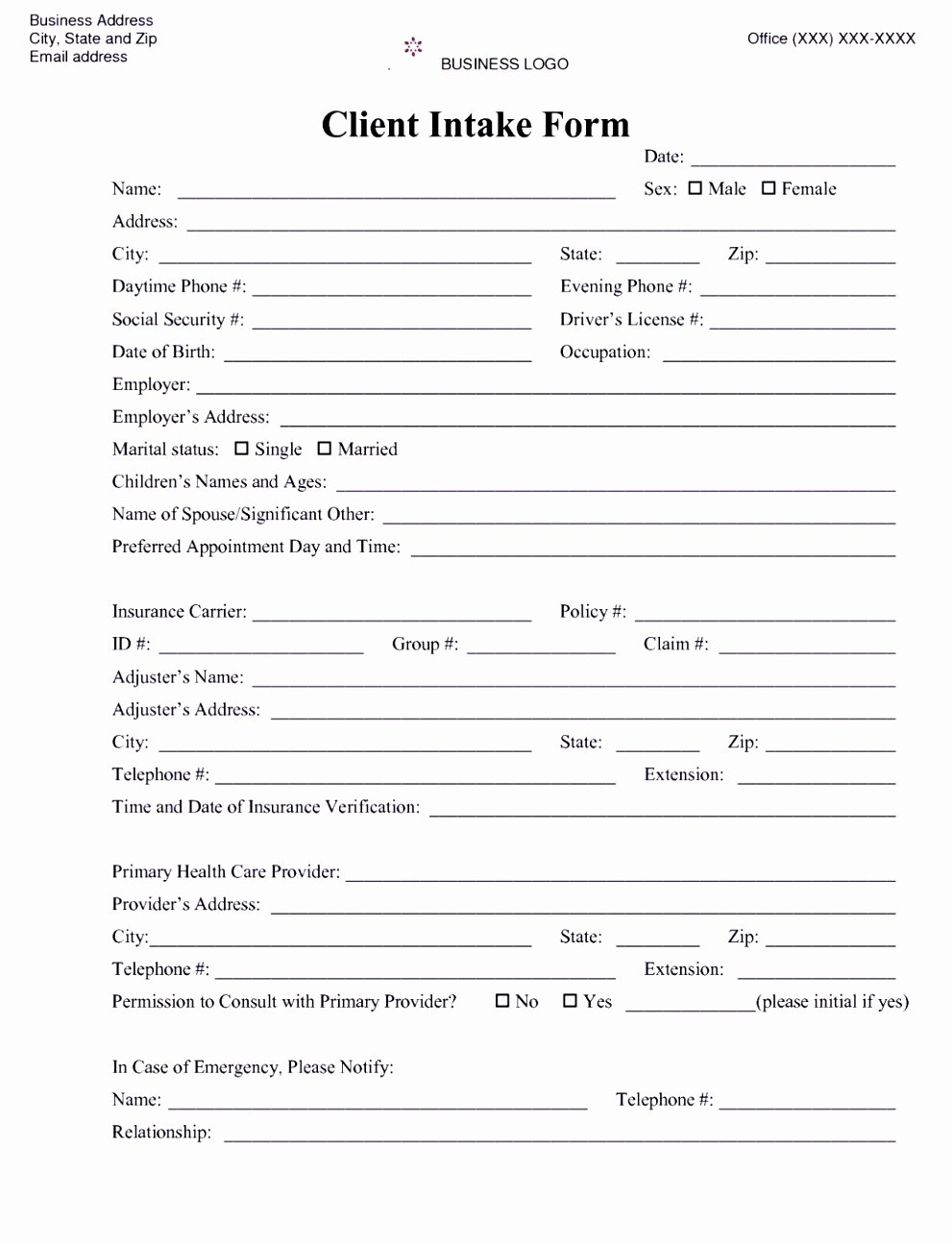 Counseling Intake form Template Luxury 6 Counselling Referral form Template Uyefi