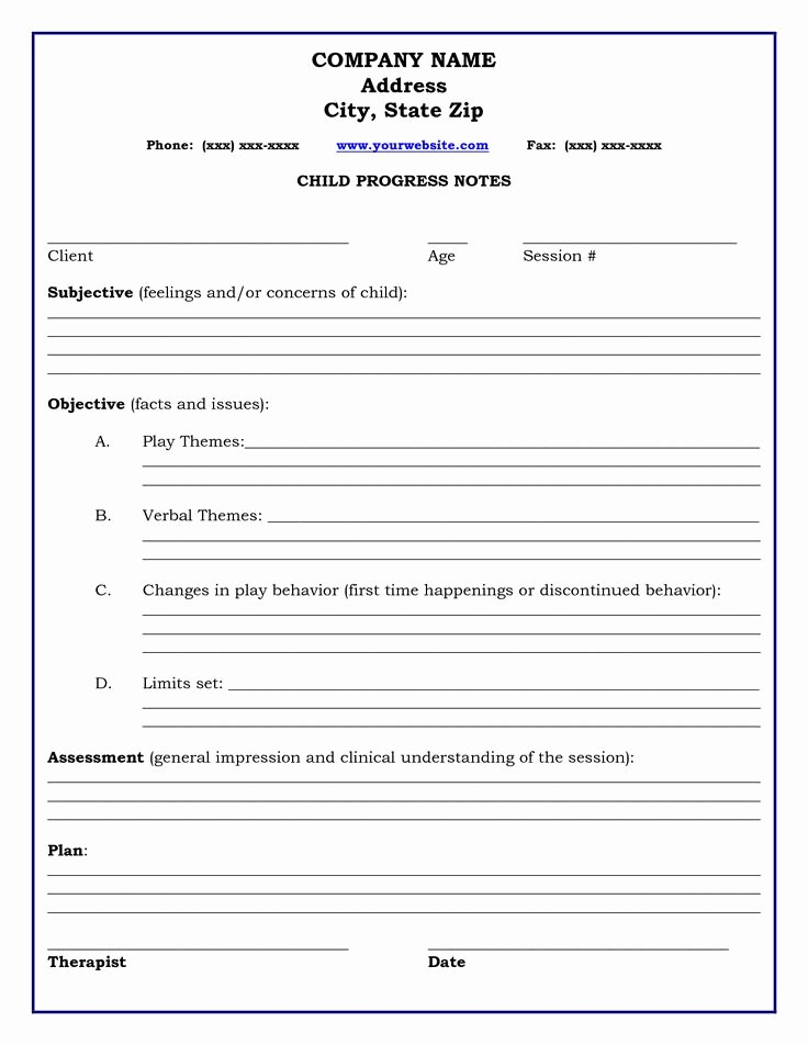 Counseling Progress Note Template Inspirational therapy Progress Note Template