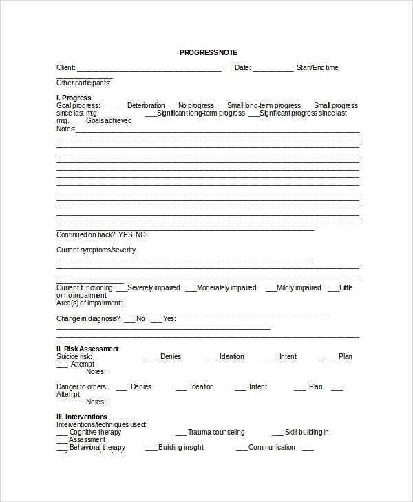 Counseling Progress Note Template Lovely 6 therapy Notes Templates