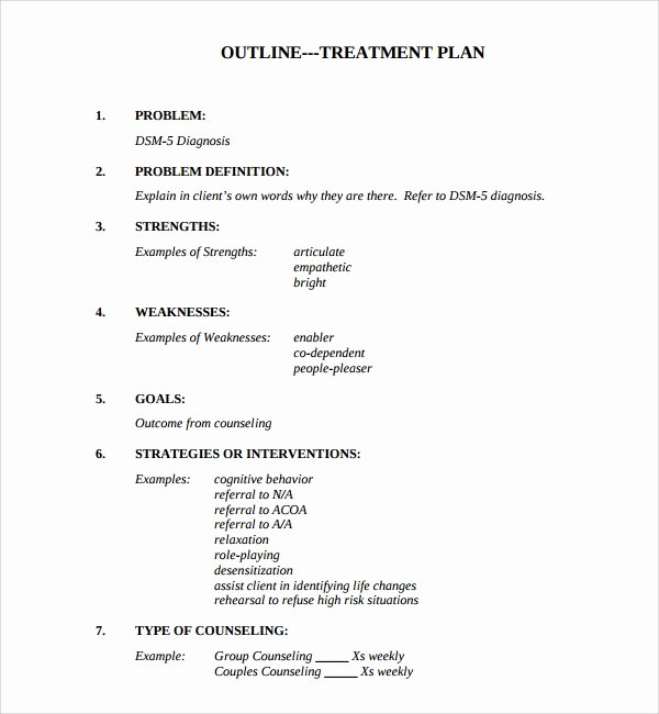Counseling Treatment Plan Template Awesome 8 Treatment Plan Templates